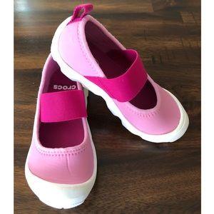 Pink Crocs Mary Jane's